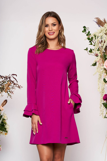 Fuchsia dress elegant short cut a-line with pockets neckline long sleeved with bell sleeve