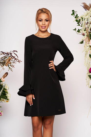 Black dress elegant short cut a-line with pockets neckline long sleeved with bell sleeve