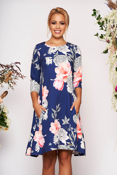 Blue dress elegant short cut cloche scuba with floral print with pockets with 3/4 sleeves