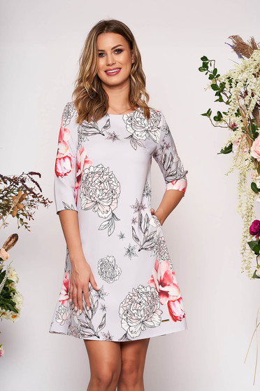 Grey dress elegant short cut a-line with floral print with pockets without clothing