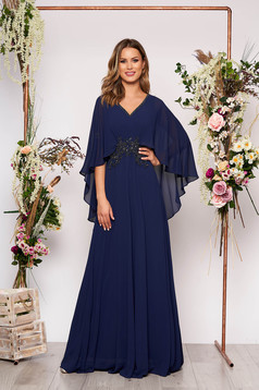Darkblue dress occasional long cloche with v-neckline with push-up cups voile overlay with small beads embellished details