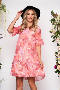 Coral dress short cut daily cloche from veil fabric short sleeves with bell sleeve with floral print
