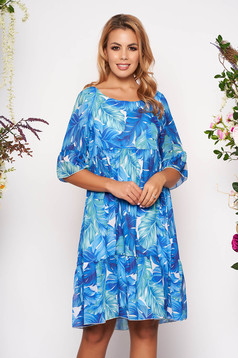 Blue dress short cut daily cloche from veil fabric short sleeves with bell sleeve with floral print
