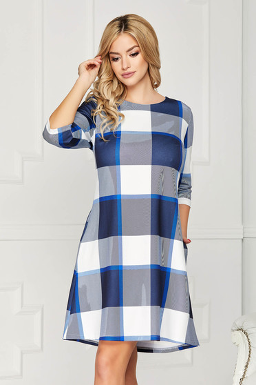 Blue dress casual daily short cut a-line with pockets with 3/4 sleeves without clothing