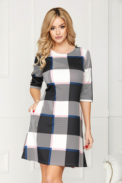 Grey dress casual daily short cut a-line with pockets with 3/4 sleeves without clothing
