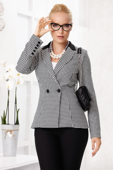 White jacket elegant short cut tented cloth thin fabric with padded shoulders