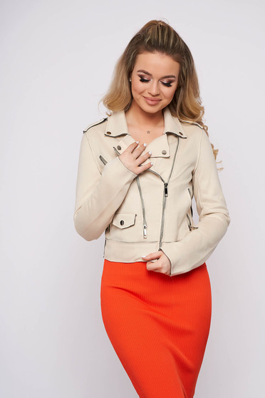 Nude jacket casual short cut with pockets
