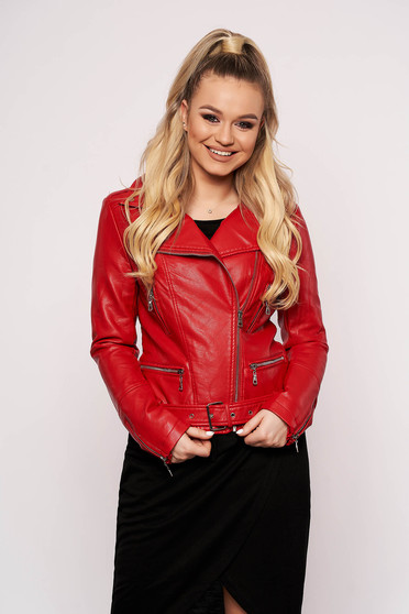 Red jacket casual short cut faux leather with zipper details pockets zipped sleeves
