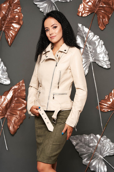 Cream jacket casual short cut faux leather with zipper details pockets zipped sleeves