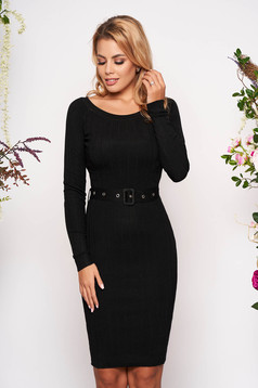 Black dress casual midi short cut pencil with rounded cleavage long sleeved accessorized with belt