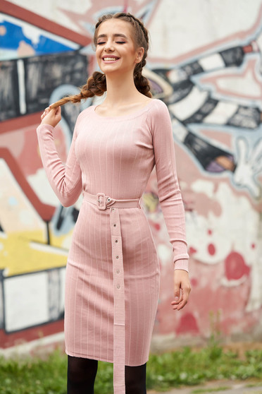 Pink dress casual midi short cut pencil with rounded cleavage long sleeved accessorized with belt