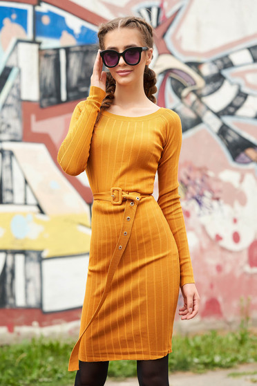 Mustard dress casual midi short cut pencil with rounded cleavage long sleeved accessorized with belt