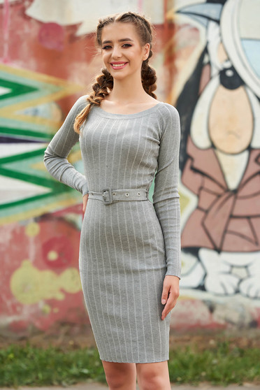 Grey dress casual midi short cut pencil with rounded cleavage long sleeved accessorized with belt