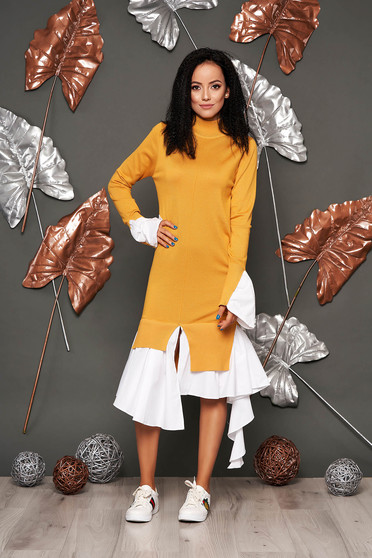 Mustard dress casual with turtle neck bell sleeves long sleeve poplin, thin cotton asymmetrical