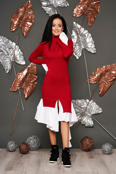 Red dress casual with turtle neck bell sleeves long sleeve poplin, thin cotton asymmetrical