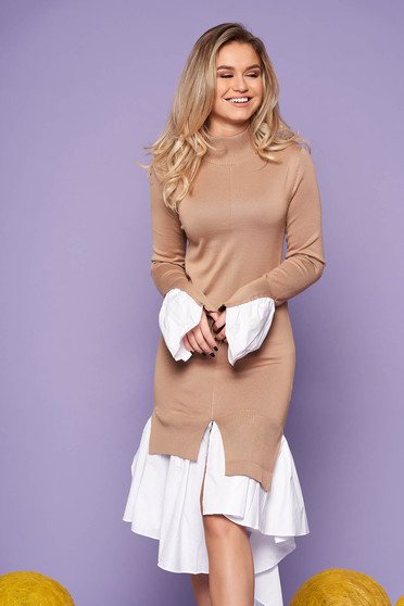 Cream dress casual with turtle neck bell sleeves long sleeve poplin, thin cotton asymmetrical