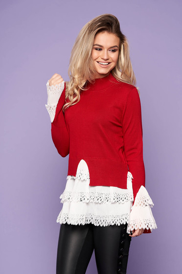 Red sweater casual with turtle neck asymmetrical long sleeve poplin, thin cotton