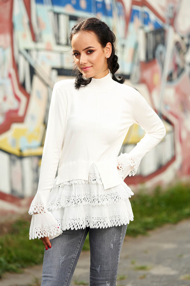White sweater casual with turtle neck asymmetrical long sleeve poplin, thin cotton