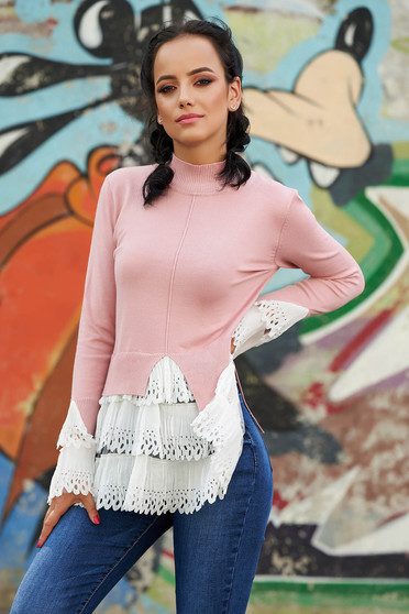 Pink sweater casual with turtle neck asymmetrical long sleeve poplin, thin cotton