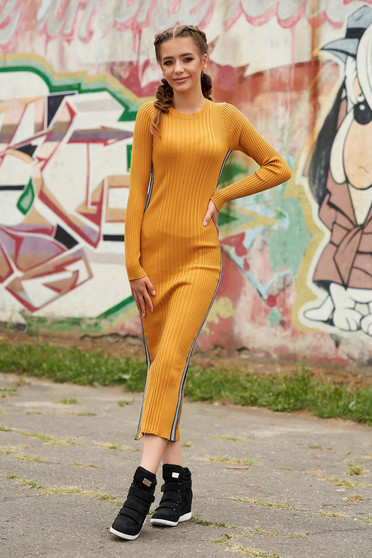 Mustard dress casual pencil from striped fabric knitted with rounded cleavage long sleeved