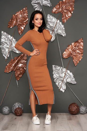 Brown dress casual pencil from striped fabric knitted with rounded cleavage long sleeved