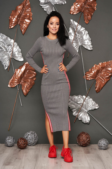Grey dress casual pencil from striped fabric knitted with rounded cleavage long sleeved
