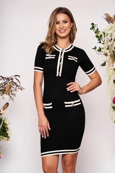 Black dress elegant short cut pencil short sleeves with front pockets