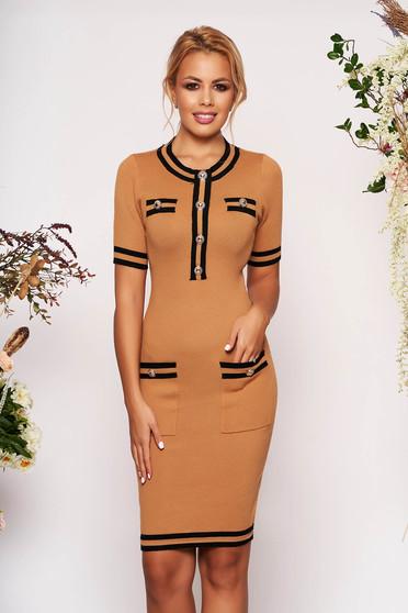 Brown dress elegant short cut pencil short sleeves with front pockets