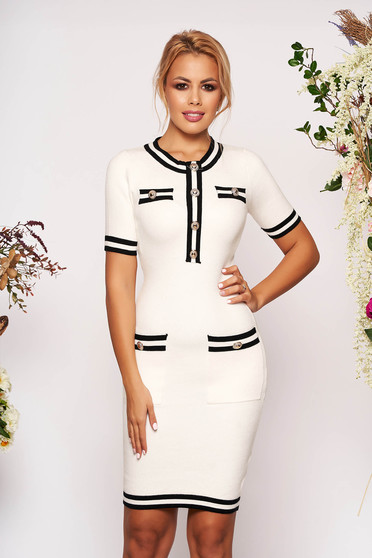 White dress elegant short cut pencil short sleeves with front pockets