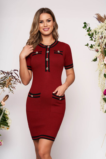 Burgundy dress elegant short cut pencil short sleeves with front pockets