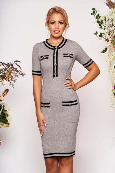 Grey dress elegant short cut pencil short sleeves with front pockets