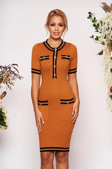 Bricky dress elegant short cut pencil short sleeves with front pockets
