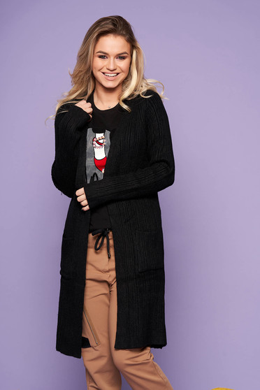 Black cardigan casual long knitted with front pockets with no closure