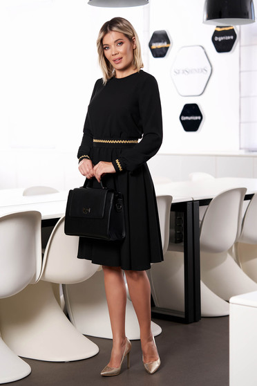 StarShinerS black dress elegant midi cloche with elastic waist without clothing long sleeved detachable cord