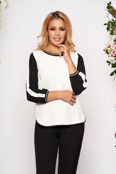 White women`s blouse casual flared airy fabric with rounded cleavage long sleeved