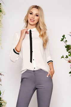 White women`s shirt casual short cut flared airy fabric with buttons