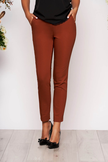 Bricky trousers elegant conical long medium waist cloth with pockets