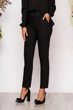 Black trousers elegant conical long medium waist cloth with pockets