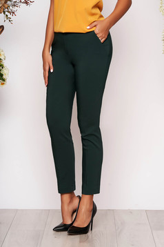 Darkgreen trousers elegant conical long medium waist cloth with pockets