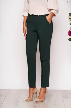 Darkgreen trousers elegant conical long medium waist cloth with pockets