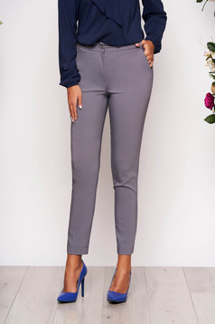 Grey trousers elegant conical long medium waist cloth with pockets