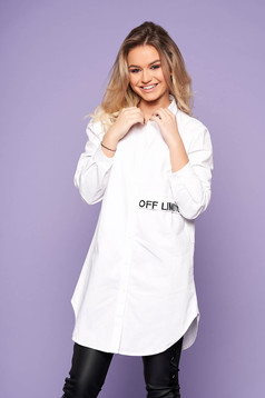 White women`s shirt casual flared embroidered asymmetrical long sleeved