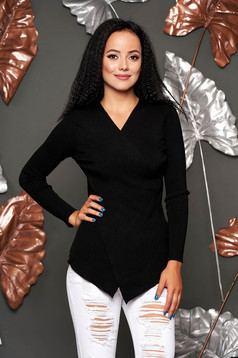 Black sweater casual knitted from striped fabric with v-neckline asymmetrical tented