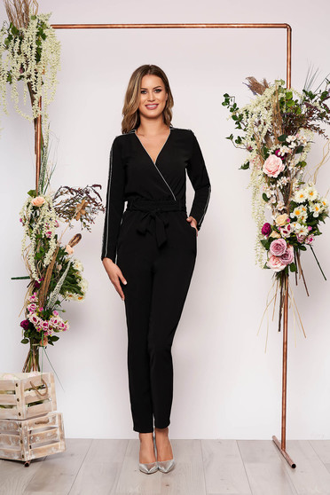 Black jumpsuit elegant long cotton with pockets detachable cord with elastic waist