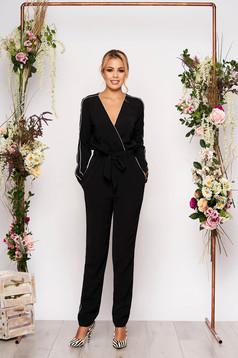 Black jumpsuit elegant long cotton with pockets detachable cord with elastic waist
