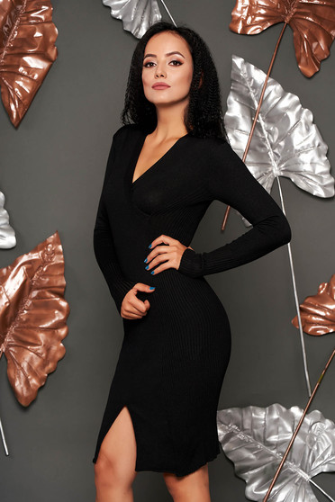Black dress casual midi pencil knitted fabric from striped fabric with v-neckline
