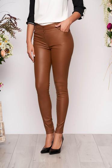 Brown trousers casual conical medium waist zipper fastening
