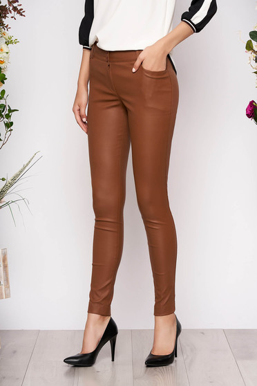 Brown trousers casual conical medium waist zipper fastening