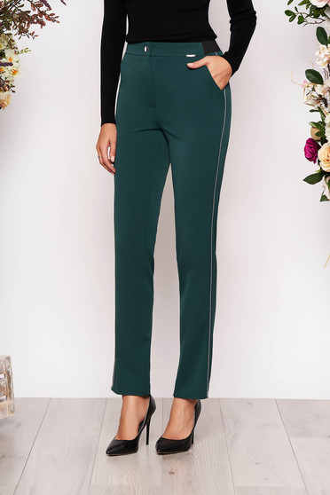 Darkgreen trousers elegant conical cloth with pockets with elastic waist metallic details