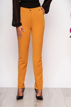 Mustard trousers elegant conical cloth with pockets with elastic waist metallic details